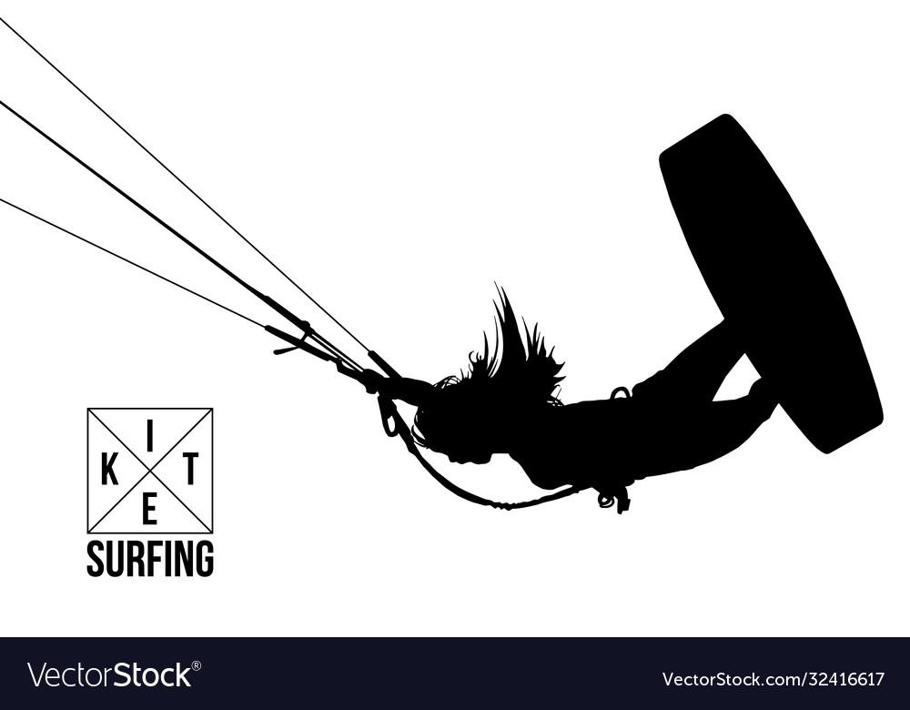 Silhouette kitesurfer kiteboarding kitesurfing