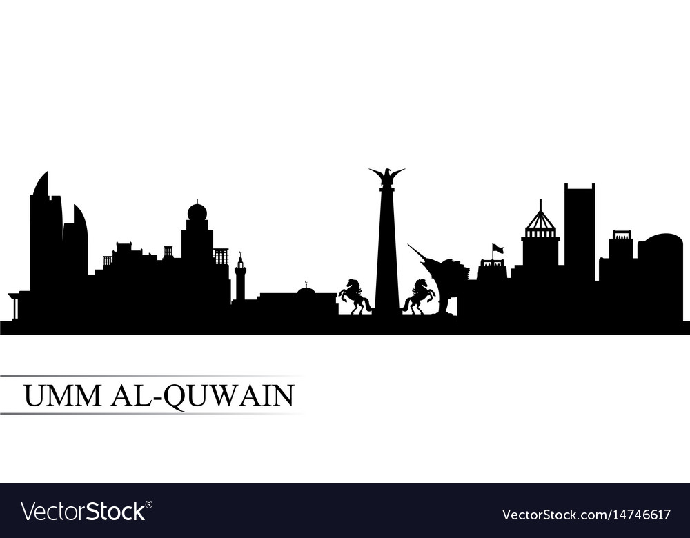 Umm al-quwain city skyline silhouette background