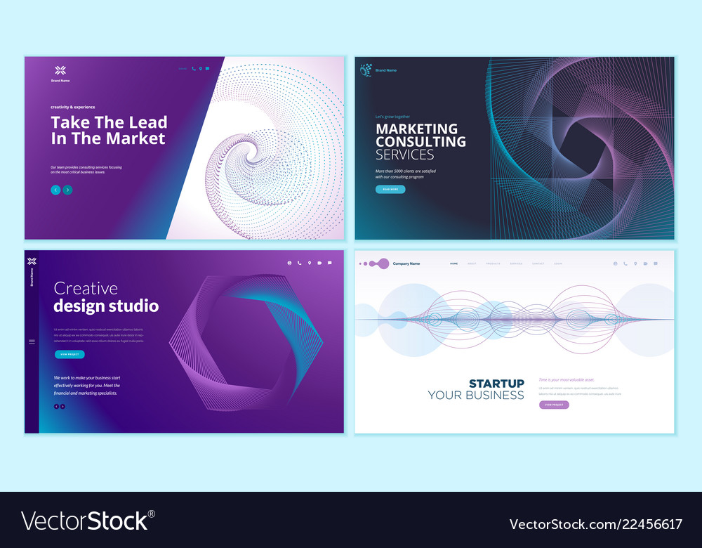 Web page design templates with abstract background vector