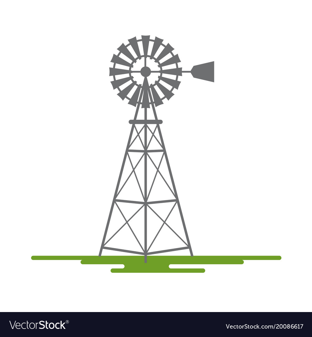 Windmill flat design symbol isolated on white vector image