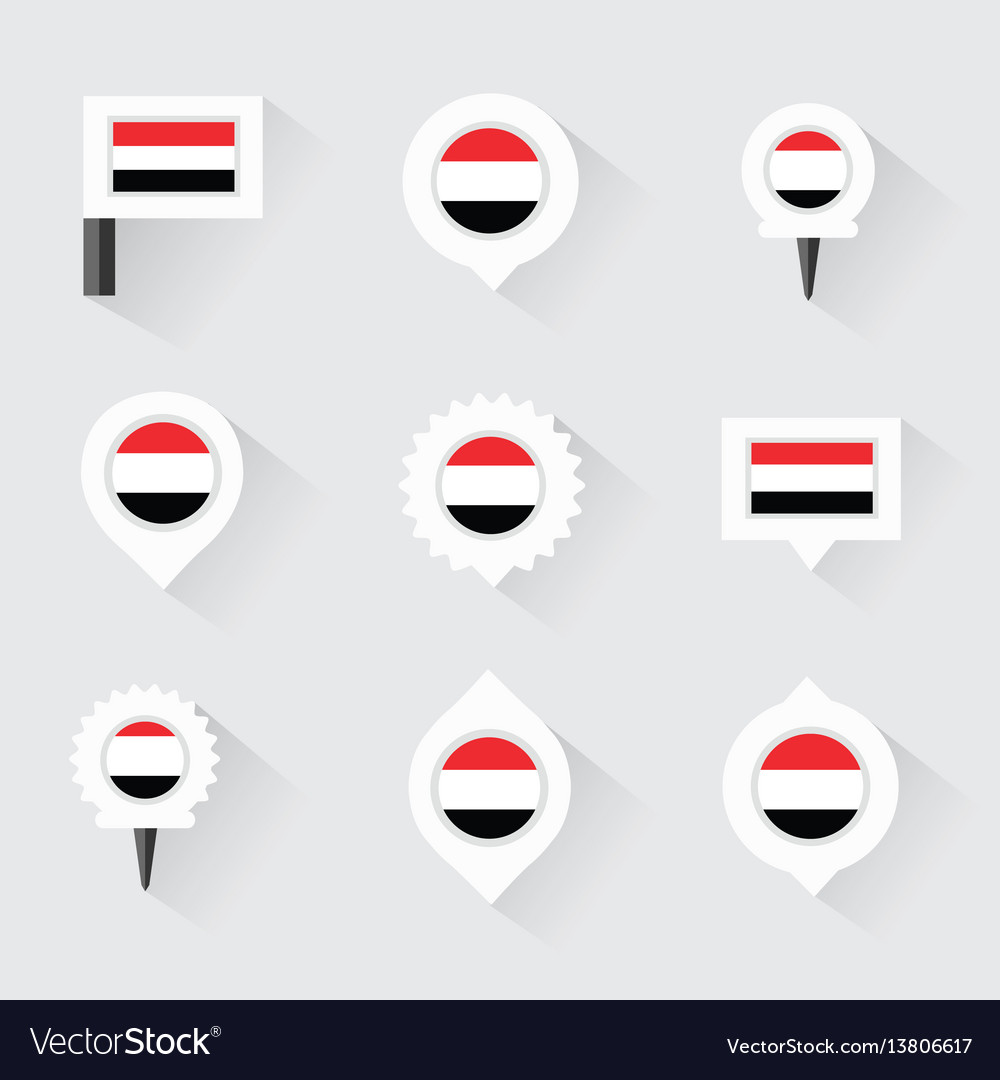 Yemen Flag And Pins For Infographic And Map Design - Flag pins for maps
