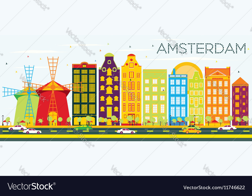 Abstract Amsterdam Skyline with Color Buildings vector image