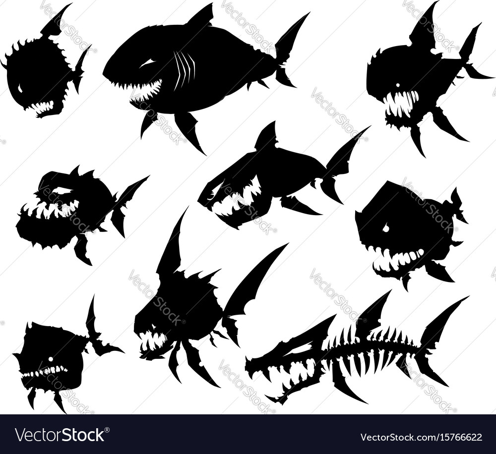 black graphic silhouette cool monster fish set vector image