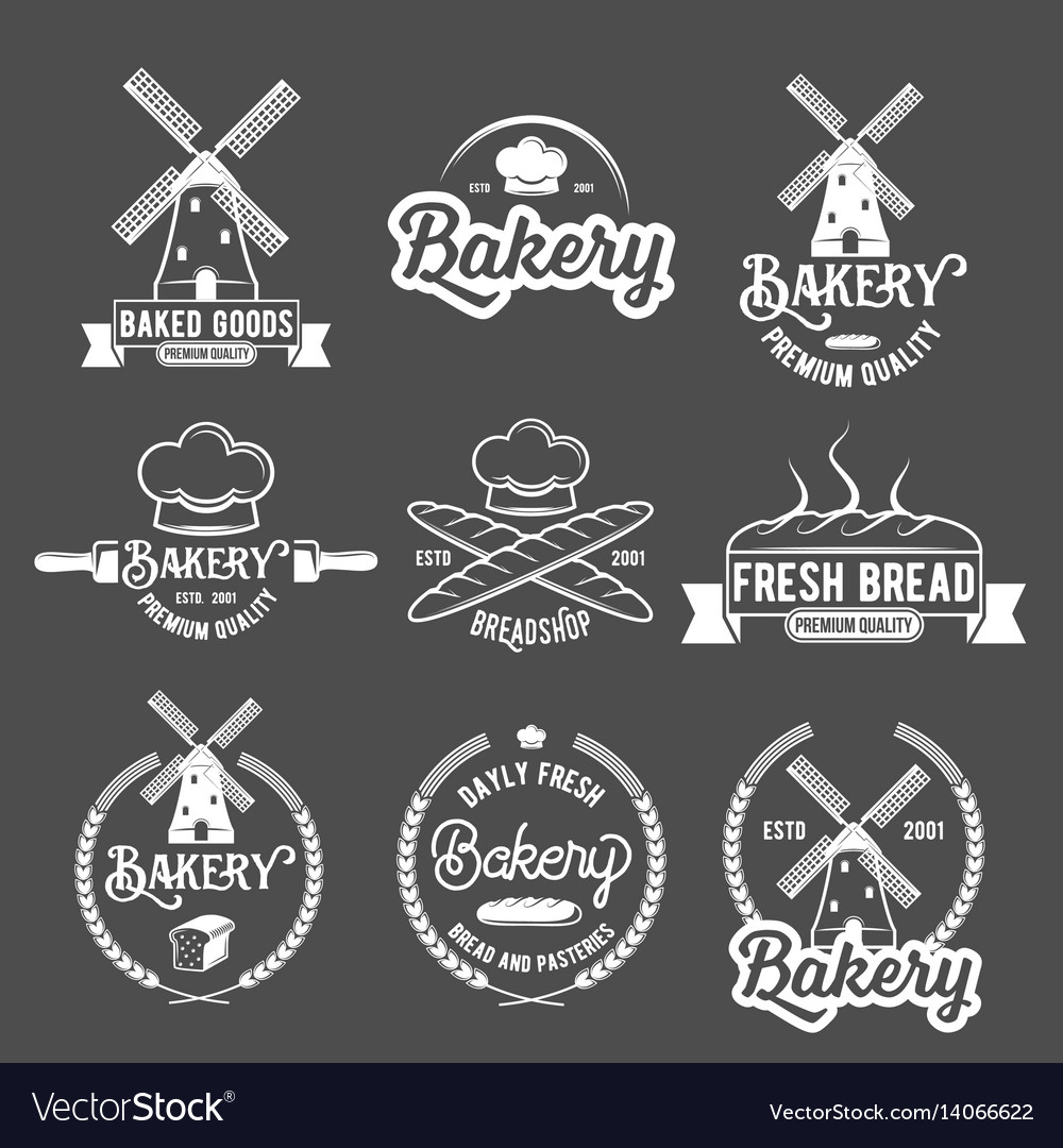 Collection of vintage retro bakery logo badges and