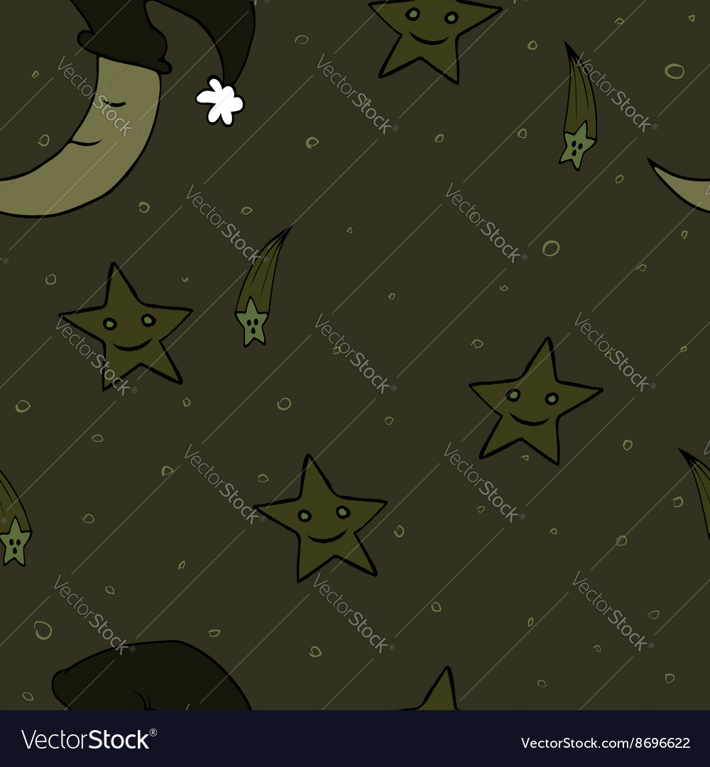 Doodle seamless night pattern background2 vector image