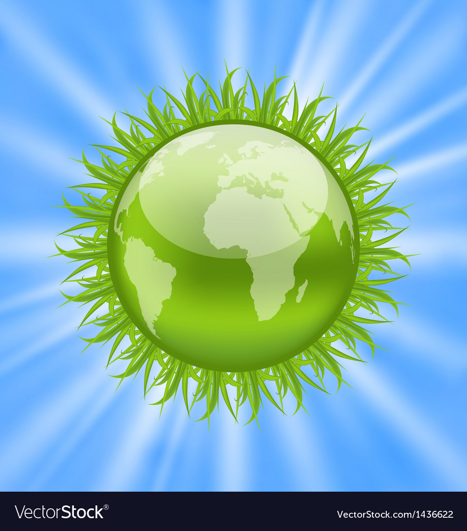 Icon earth with grass environment symbol