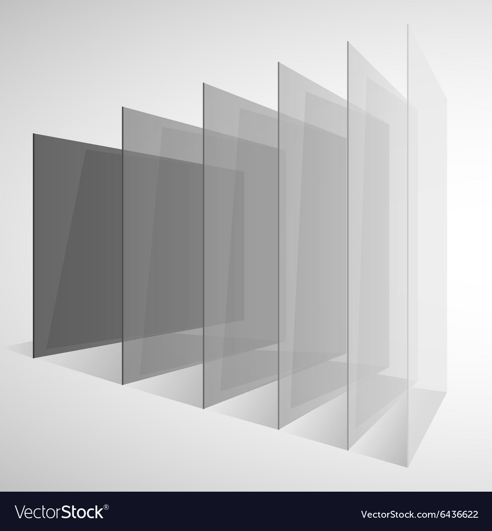 Perspective transparent gray abstract rectangles