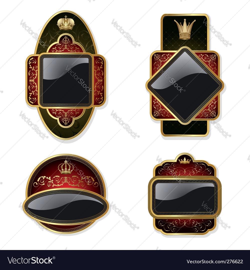 Set from gold labels vector image