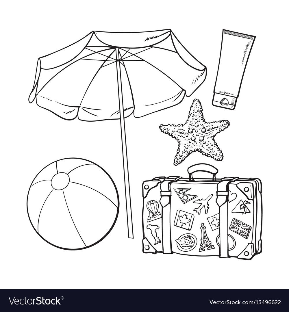 Summer time vacation attributes - umbrella