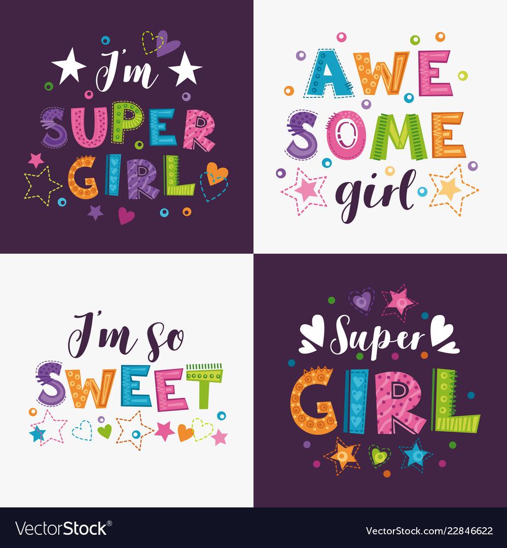 Trendy girlish slogans with decorative elements