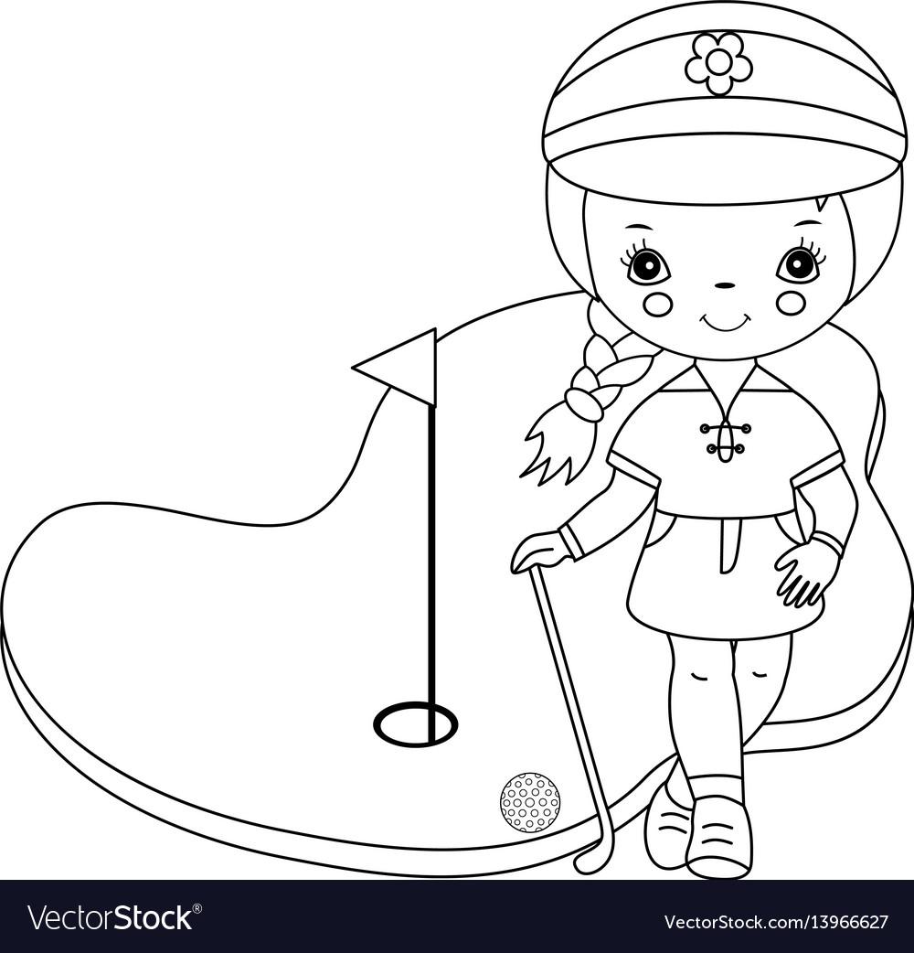 Black and white little girl golfer vector image