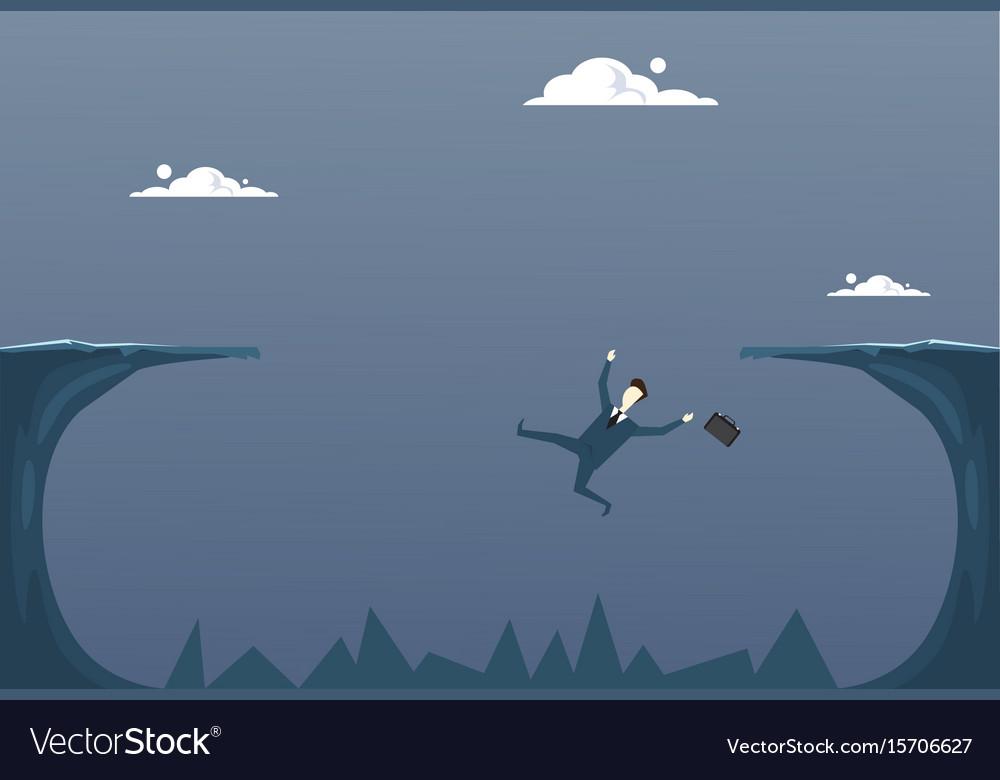 Business man falling in cliff gap businessman fail