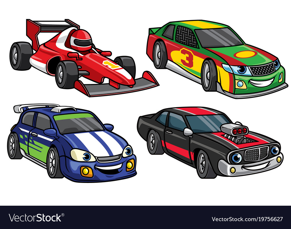 Cartoon sport racing car in set