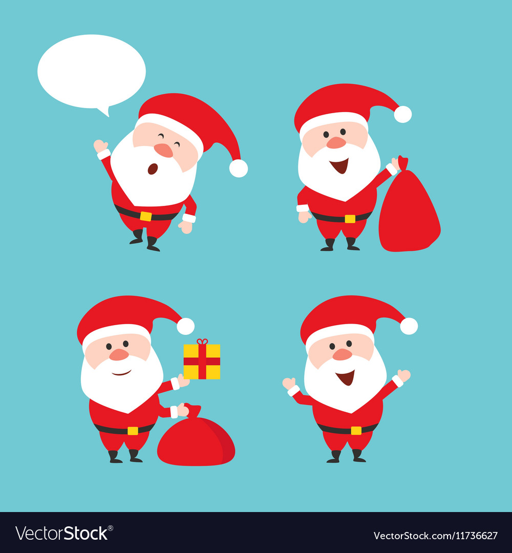 Cute funny Santa Claus set Merry