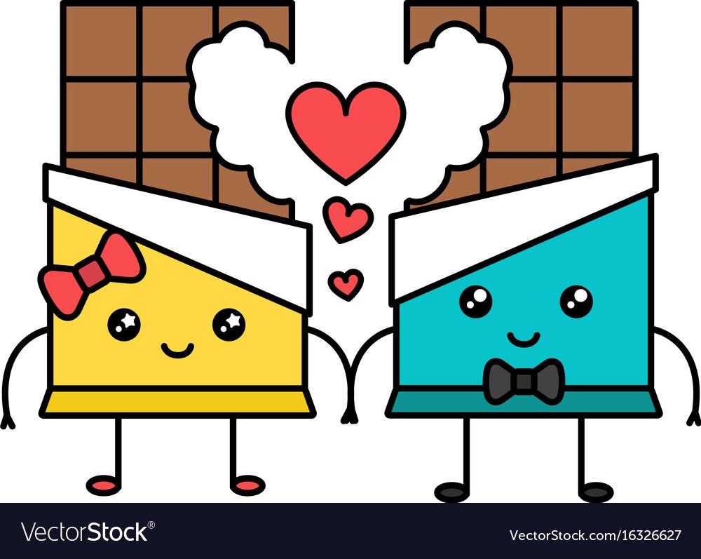 Cute Kawaii Chocolate Couple Valentine Concept Vector Image