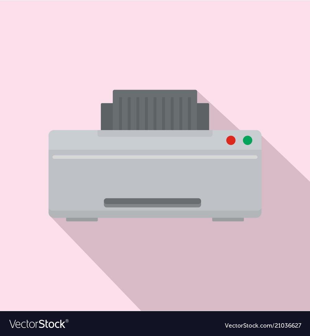 Grey printer icon flat style