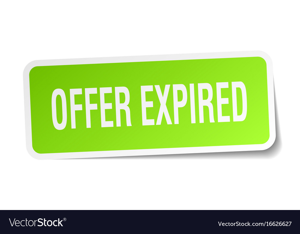 Offer expired square sticker on white