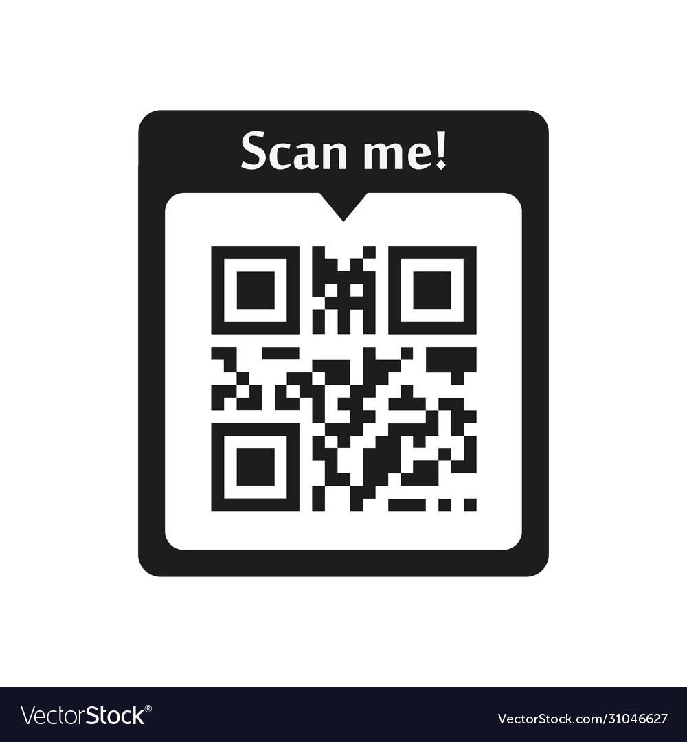Scan Me Qr Code Icon On White Background Vector Image