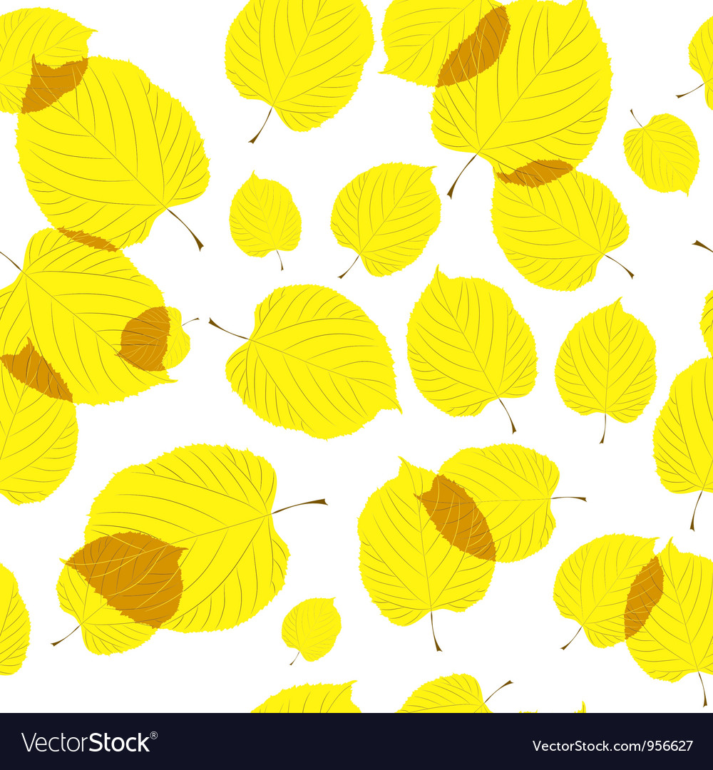 Seamless pattern of autumn leaves on the white