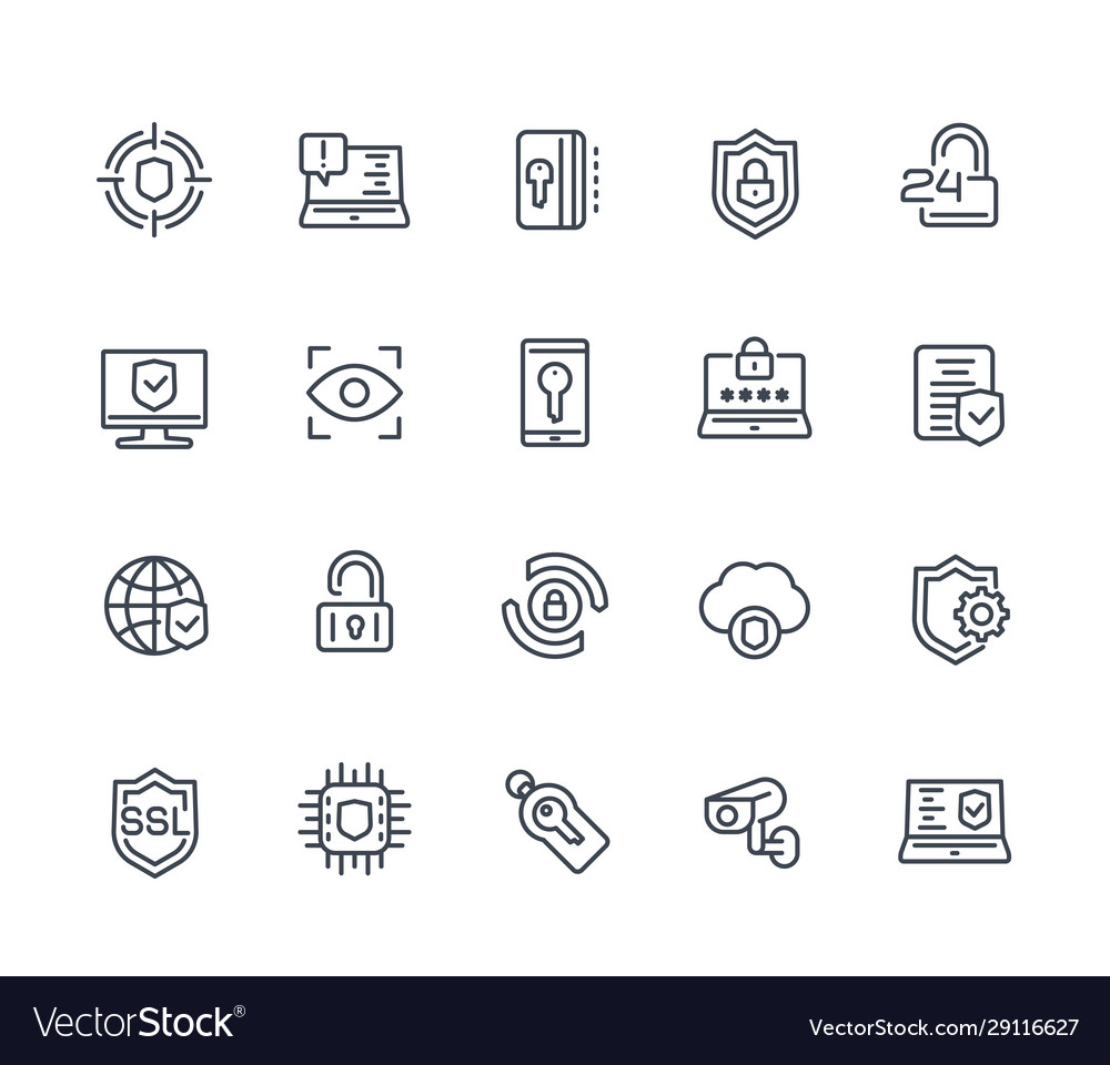Security and protection line icons on white