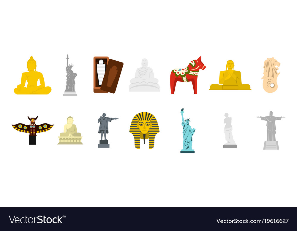 Statue icon set flat style vector image