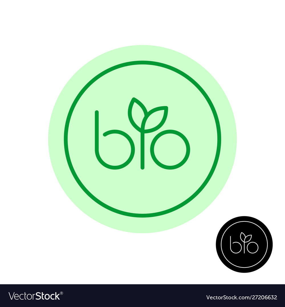 Bio text symbol with green leaves on letter i