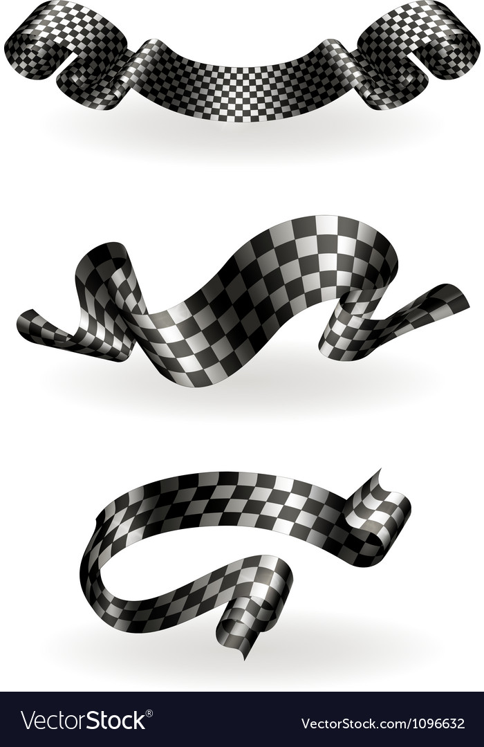 Checkered Ribbons Set Royalty Free Vector Image