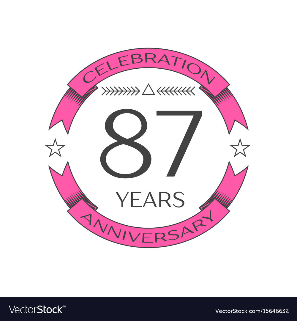 Eighty seven years anniversary celebration logo