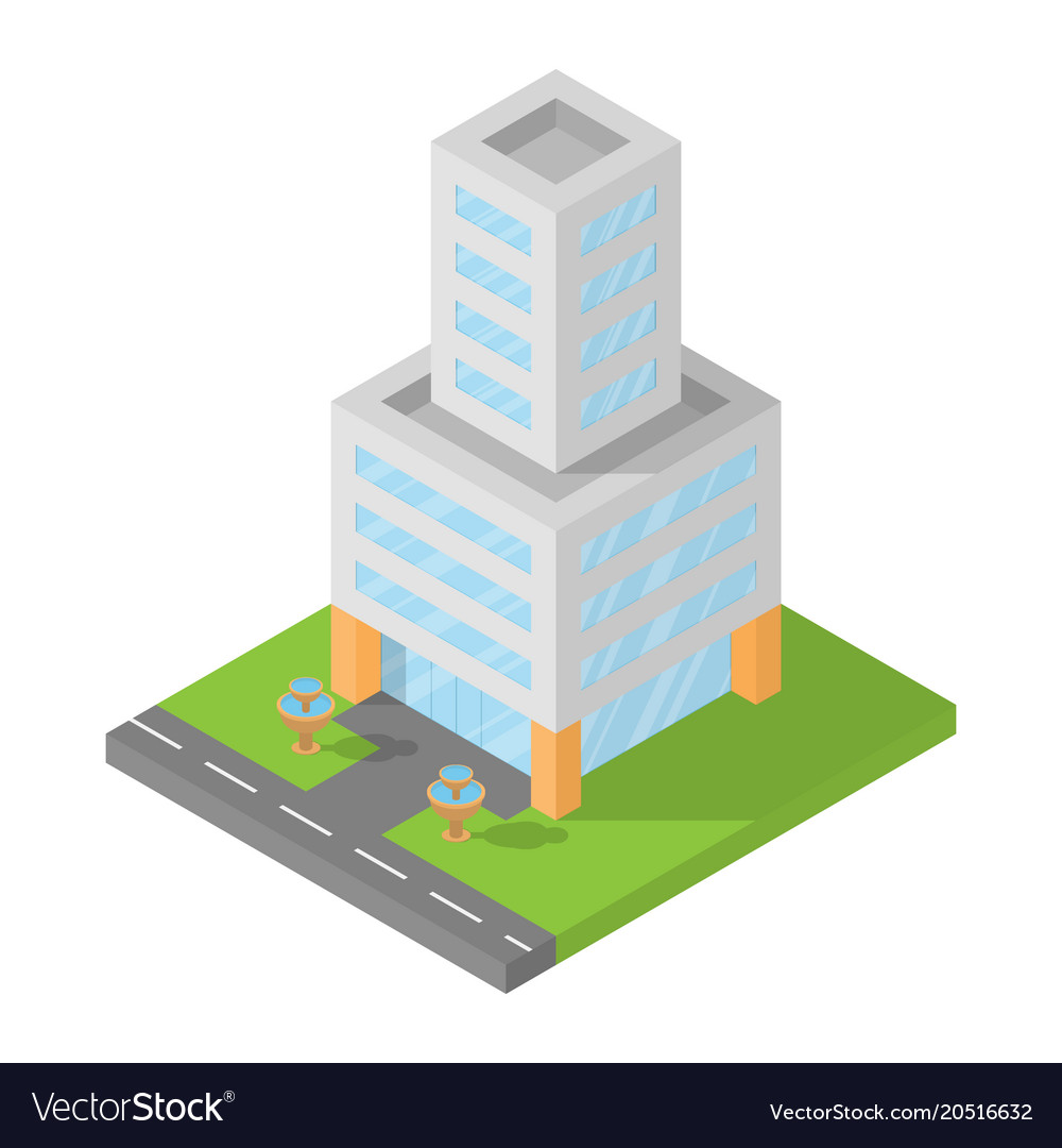 Office Block Design Intended Isometric Office Building Block Flat 3d Design Vector Image