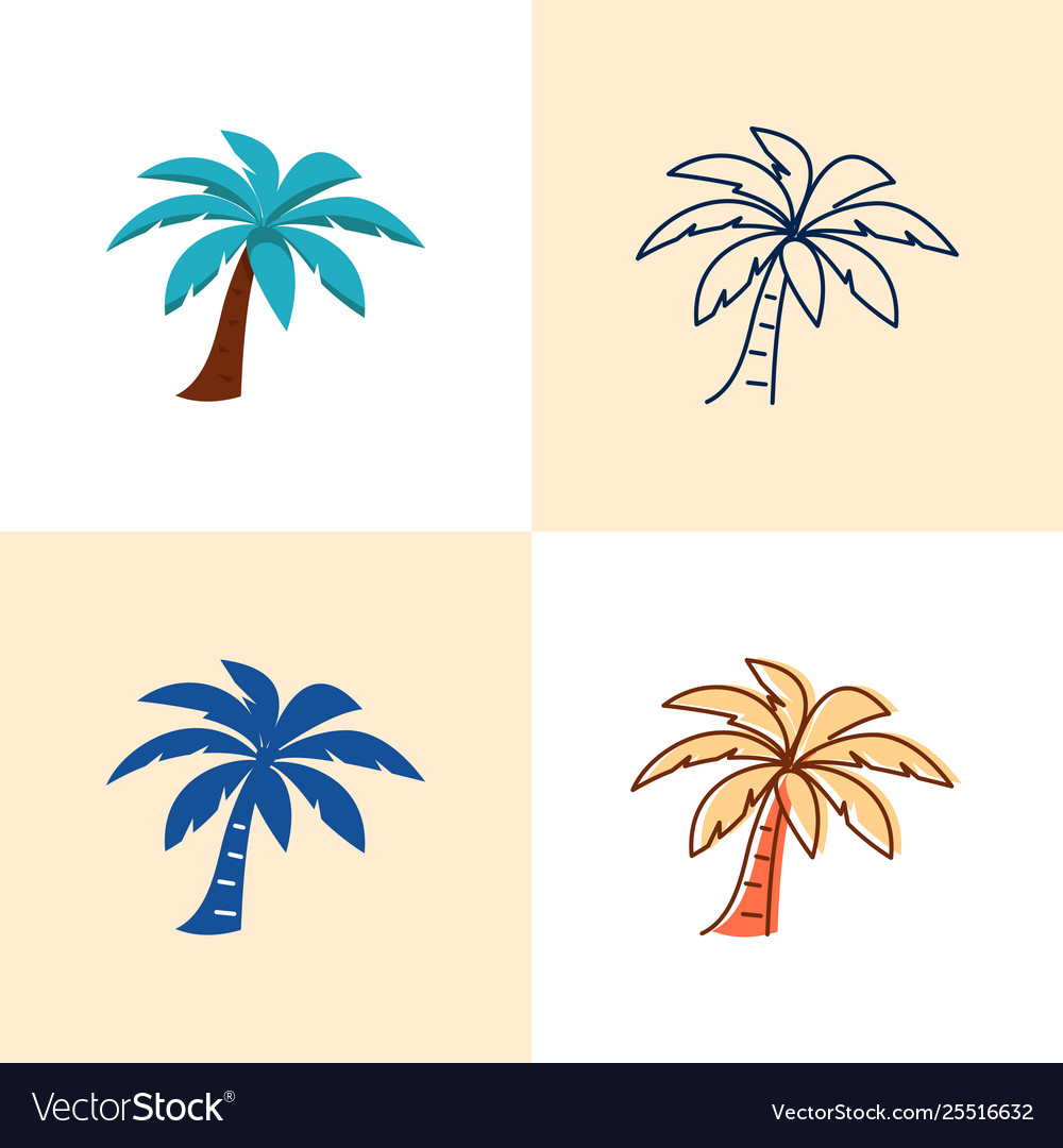 Palm tree icon set in flat and line style