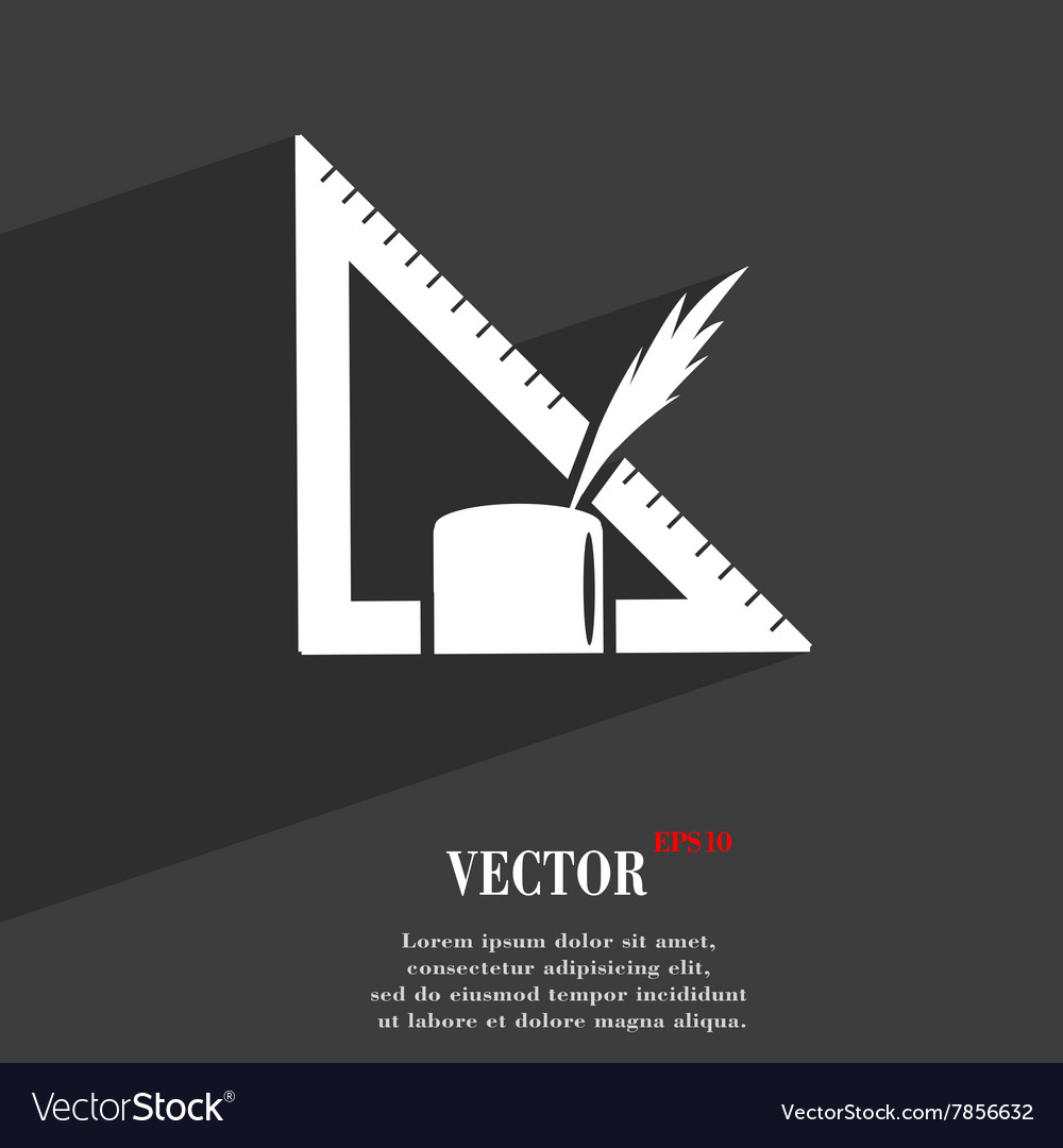 Pencil and ruler symbol Flat modern web design
