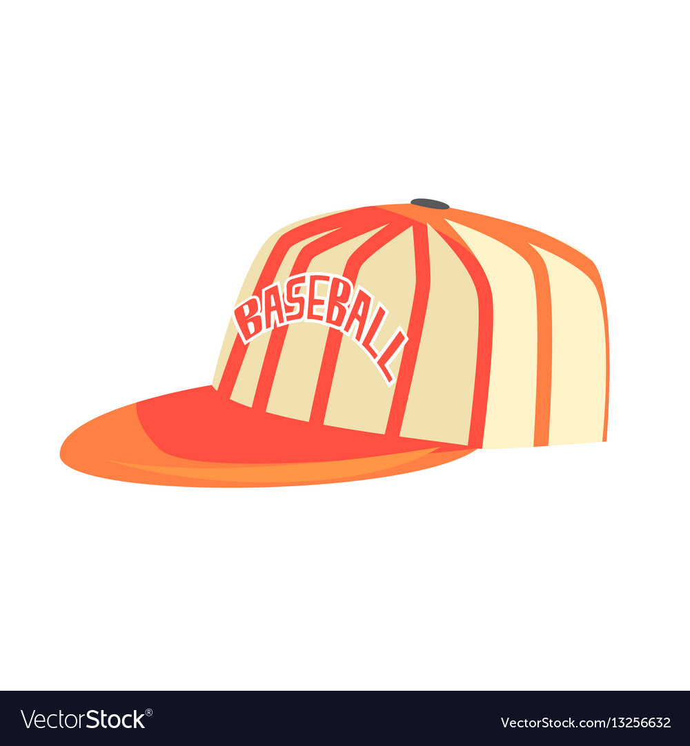 Pitcher cap with orange stripes part of baseball