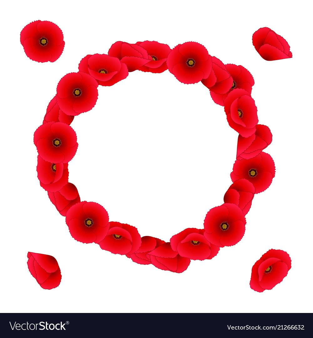 Red corn poppy wreath