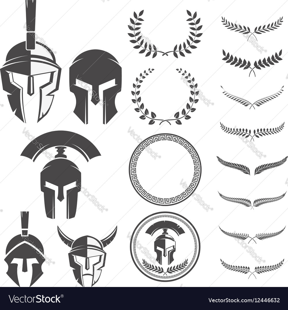 Set of the spartan warriors helmets and design