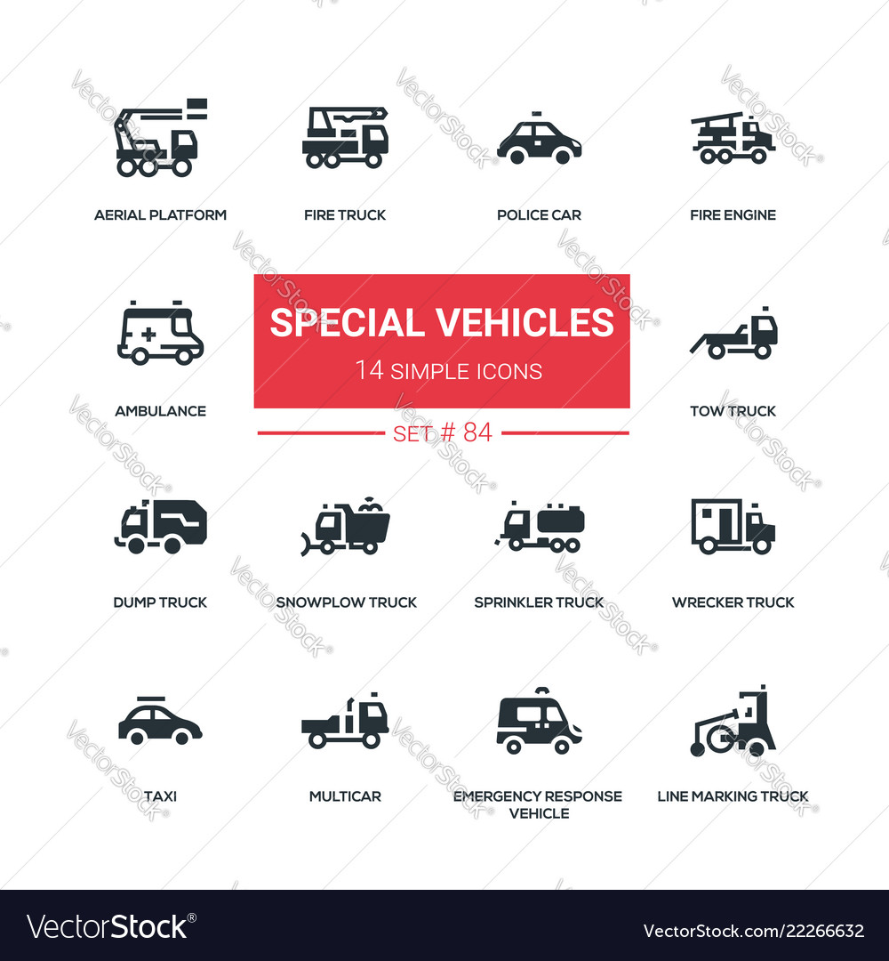 Special vehicles - flat design style icons set