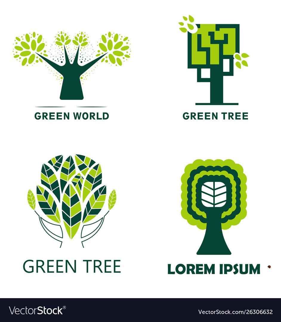 Woodland and green tree isolated icons ecology and