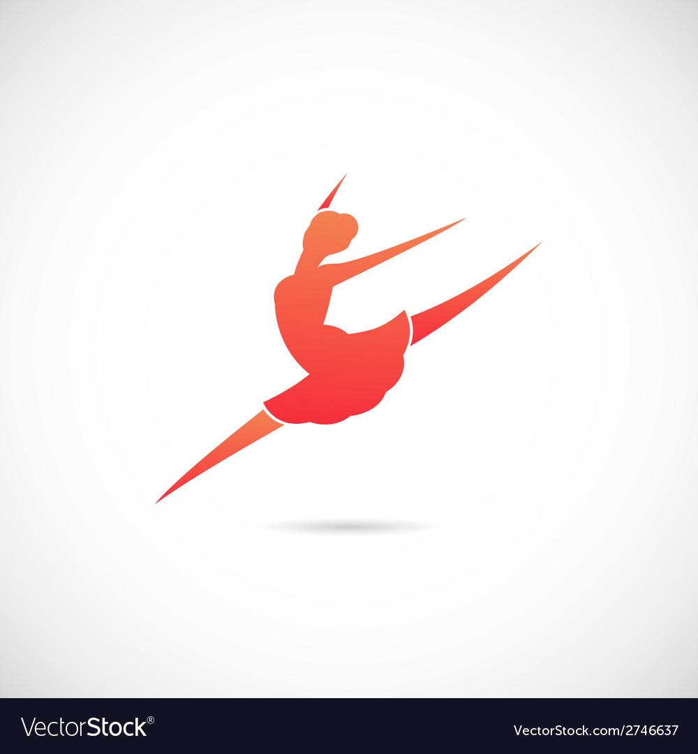 Ballet Dancer Silhouette Symbol Icon or Label