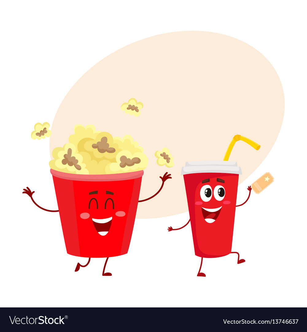 Cinema popcorn and soda water characters with