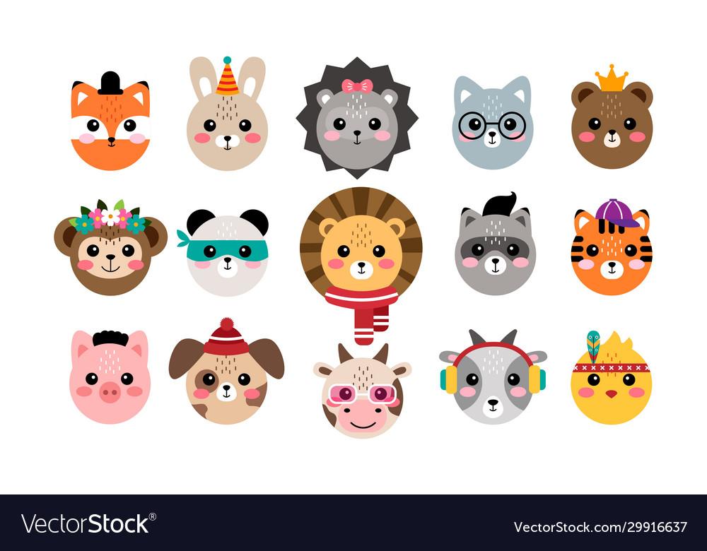 Kawaii set cute animal portraits