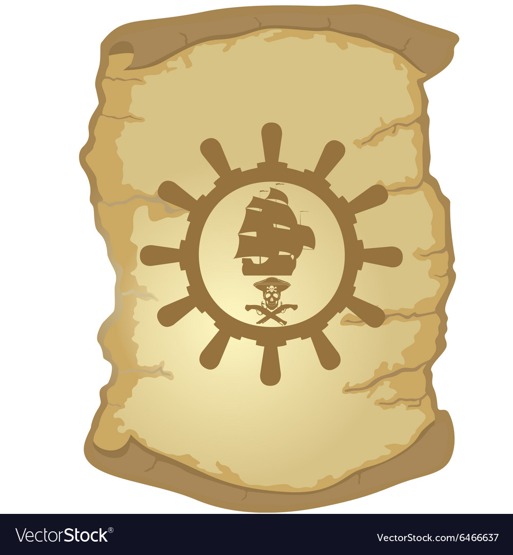 Parchment and the helm of a sailing ship-2 vector image
