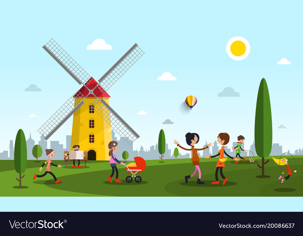 People in city park with windmill flat design