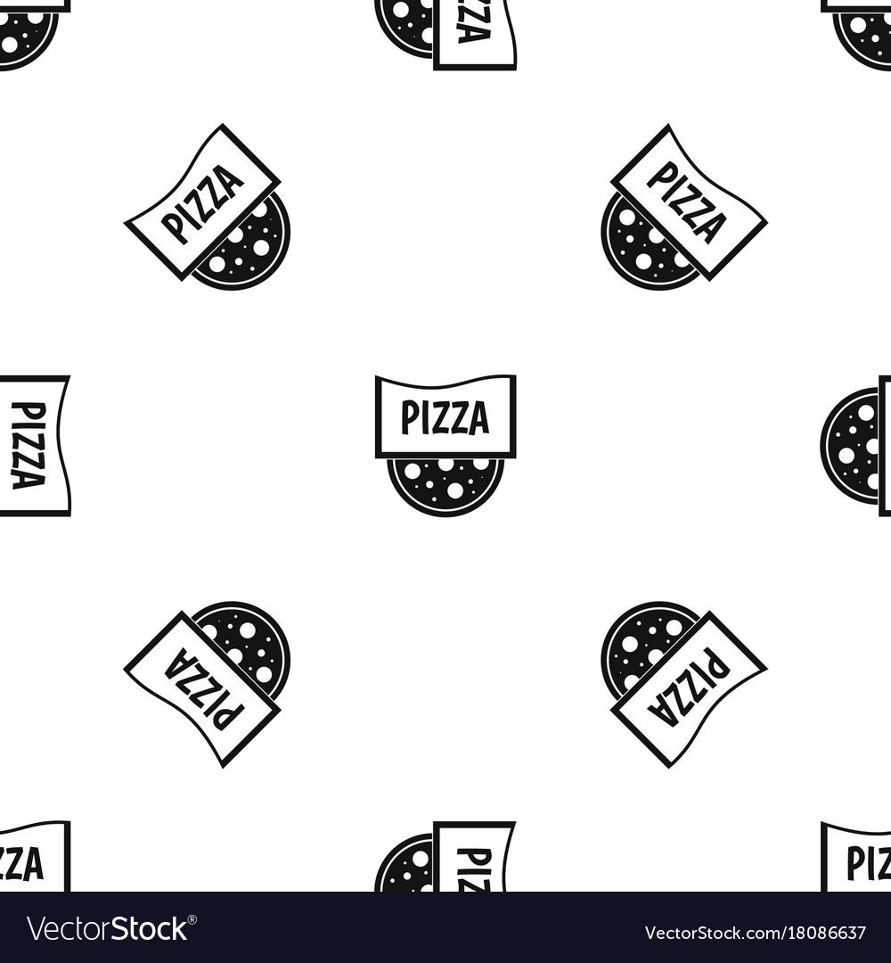 Pizza badge or signboard pattern seamless black