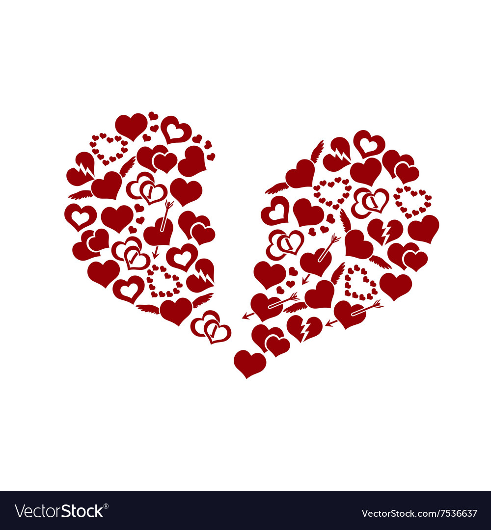 Red Valentine Broken Hearth Love Symbols In Big Vector Image