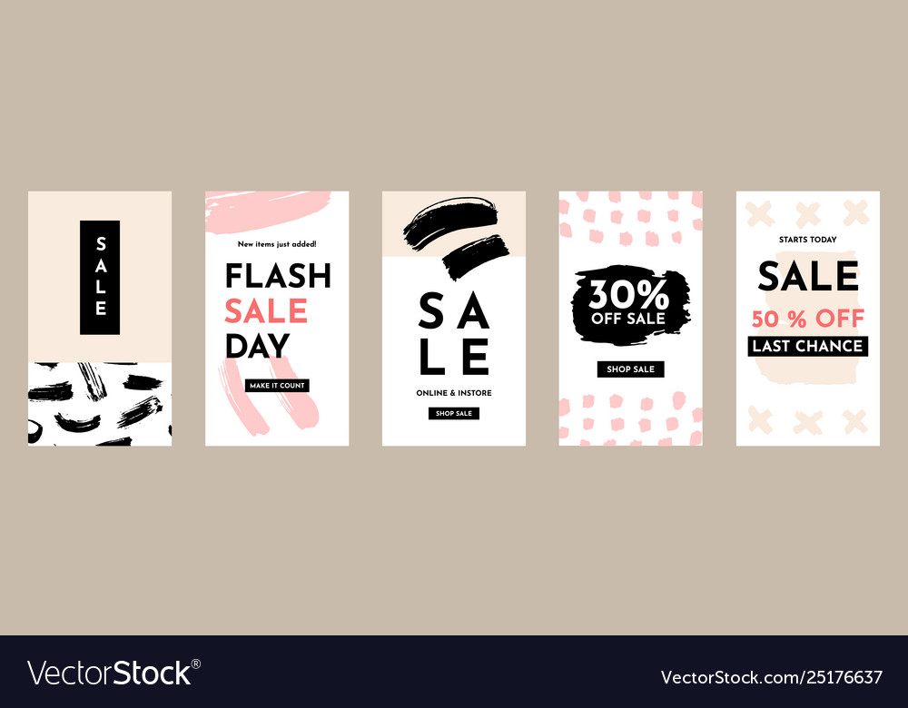 Sale social media stories banners set
