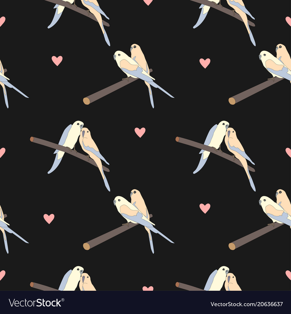Seamless pattern with a cute couple of birds