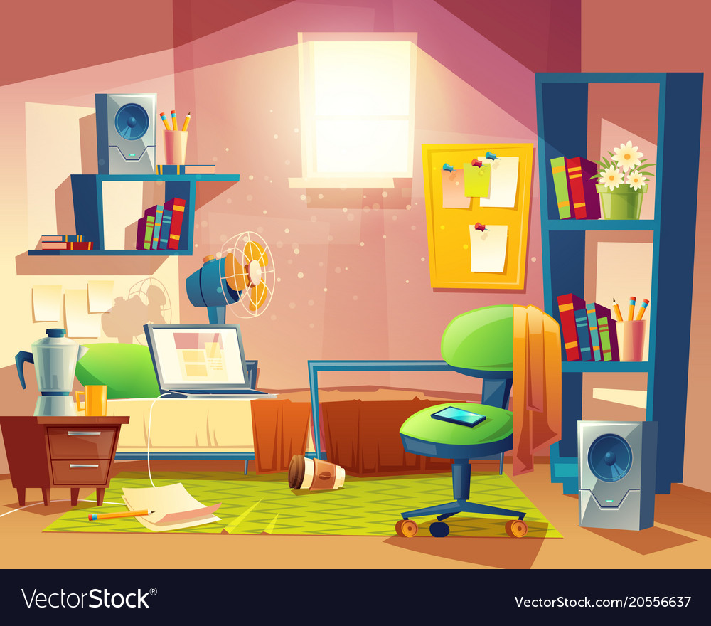 Cartoon Kitchen Furniture: Small Room Cartoon Bedroom With Furniture Vector Image