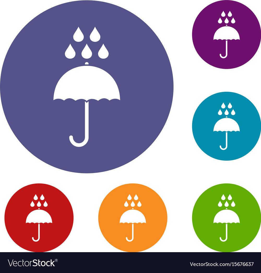 Umbrella and rain drops icons set
