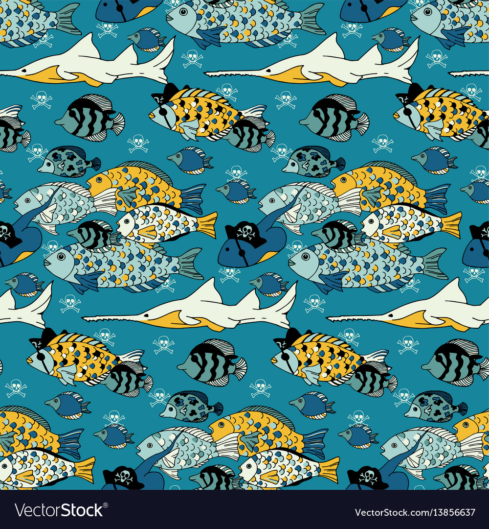 Underwater sea life seamless pattern
