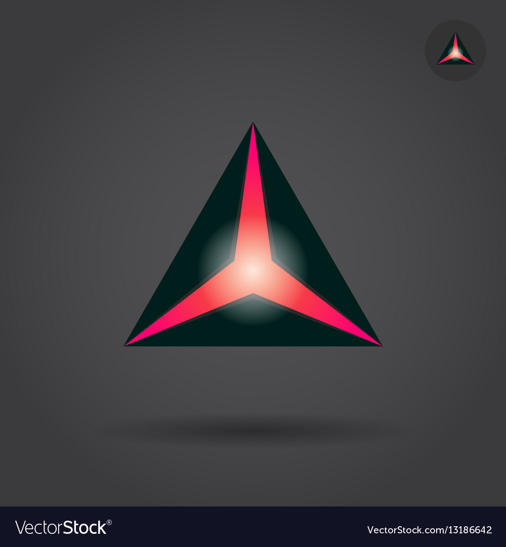 Black triangle with red hole