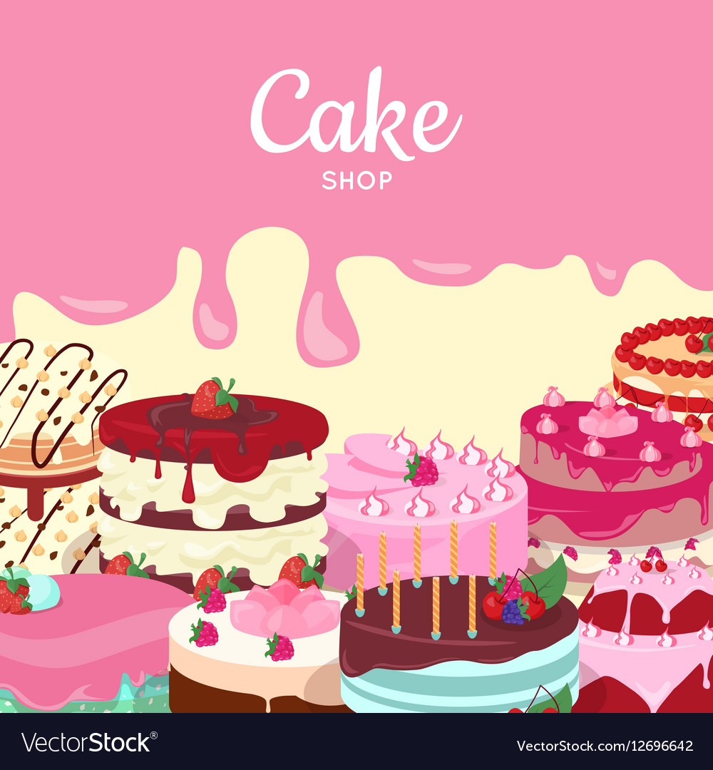 Cake Shop Set of Decorated Cakes Confectionery